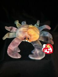 Ty Beanie Babies Style 4083 Rare 1996 Retired Claude The Crab Errors Pvc Pellets