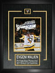 Malkin,e Signed 8x10 Etched Mat Penguins 2017 Stanley Cup