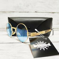 TWIST Style Sunglasses R7Rm A006 by FLIP SLING CLUB Gold Frame Blue Lens 901MN