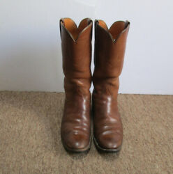 Lucchese San Antonio 6324 Menand039s Brown Leather Western Cowboy Boots Size 8 1/2 D