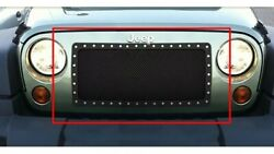 4 Jeep Wrangler 07-17 Black Powder Coat And Chrome Rock Guard Grille Overlay Inser