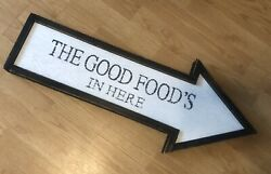 Vintage Wood Sign The Good Food Is Here Farm House Diner Kitchen Sign