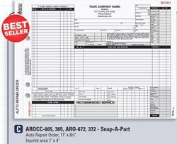 Auto Repair Order / Snap-a-part With Carbon 4 Part / 8.5 X 11 / Aro-672