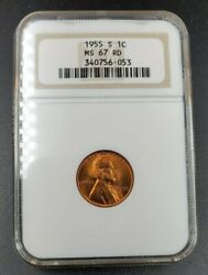 1955 S Lincoln Wheat Cent Penny Coin Ms67 Ngc Red Rd Brownlbl Fat Holder Gem Bu
