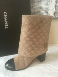 17b Quilted Suede Clover Heart Foldover Pant Boots Heel Beige Black