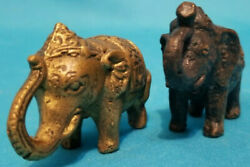 Vintage Antique Two Miniature Medal Turn Of The Century Elephant Figurines