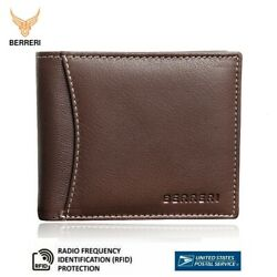 Mens Real Leather Wallet Credit Card RFID Safe Bifold Purse Gift Boxed US Stock