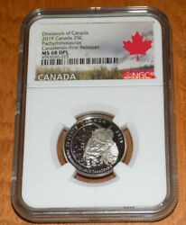 Canada 2019 25c Ngc Ms 68 Dpl Twenty-five Cent Dinosaurs First Releases Unc Coin