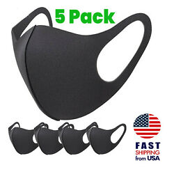 [5 PACK] Breathable Washable Black Sponge Mouth Face Cover THIN Lightweight Mask