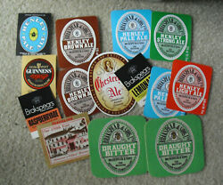 Lot Of 12 Vintage Unused Beer Bottle Labels And 2 Coasters Guiness Yuengling ++