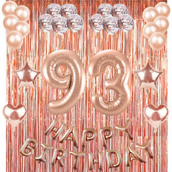 93rd Rose Gold Happy Birthday Banner Confetti Balloon Party Decoration Supplies