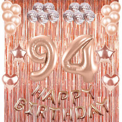 94th Rose Gold Happy Birthday Banner Confetti Balloon Party Decoration Supplies