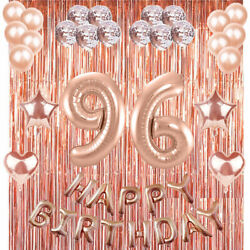 96th Rose Gold Happy Birthday Banner Confetti Balloon Party Decoration Supplies