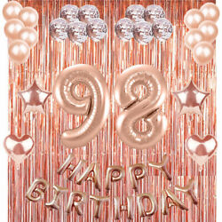 98th Rose Gold Happy Birthday Banner Confetti Balloon Party Decoration Supplies