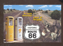 1937 Original Route 66 And Revised Donkey Gas Pumps Postcard