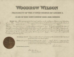 Woodrow Wilson - Civil Appointment Signed 03/05/1915 With Co-signers