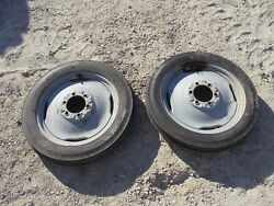 Ford 8n Tractor Front Rims And 4 X 19 Super Hi Rib 4ply Tires Tire Rim