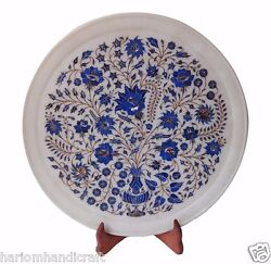 14 Indian Makrana Inlaid Marble Serving Tray Plate Lapis Floral Hallway Gifts