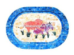 12''x15'' Oval Inlaid Marble Serving Plate Tray Animals Arts Mosaic Kitchen Gift