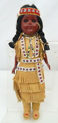 1a Vtg Native American Indian Girl Doll Leather Outfit Sleepy Eyes Papoose Baby