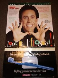 Rare Jerry Seinfeld 37x23 Inches Colgate Dental Poster Dentist Office Teeth Nice