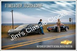 Chevrolet It Takes A Chevy To Catch A Chevy Corvette Poster-free Us Ship