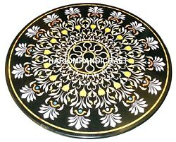 Black Marble Dining Table Top Mother Of Pearl Elegant Inlaid Outdoor Decor M323