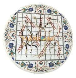 30 Round Marble Top Table Jungle Snakes And Ladders Inlay Rare Floral Decor W095