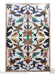 4and039x2and039 Marble Dining Table Top Mother Of Pearl Inlaid Pietradure Patio Arts H1471