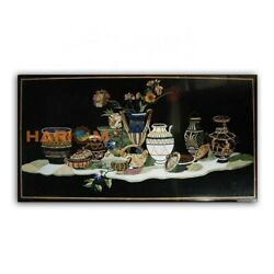 4and039x3and039 Black Marble Collectible Dining Table Top Pottery Design Garden Decor B412