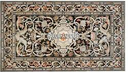 Antique Vintage Look Marble Top Fine Marquetry Inlay Side Table Rare Decor H3371