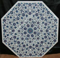 32 Marble Coffee Table Top Lapis Collectible Fine Mosaic Floral Inlay Art E1401