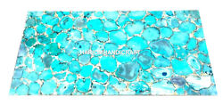 Agate Stone Dining Table Top Blue Agate Handmade Inlay Art Home Decors A003