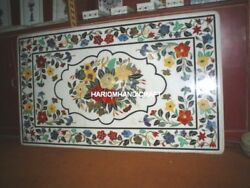 White Marble Dinner Table Top Marquetry Inlay Multi Floral Hallway Decorate M019
