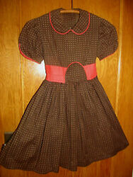 1950s Vintage Girls Dress Brown Print wStrawberry Red Pleated Waist~Chest 30