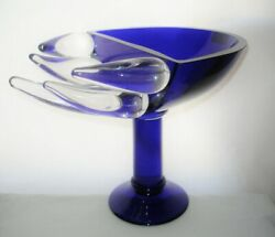 Outrageous Flames New In Box Blue Signed Glass Sculpture Limited Edition Gump's