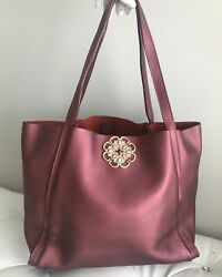 Genuine Leather Burgundy Matte Finish Jeweled Tote Bag