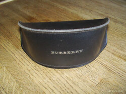 BURBERRY DESIGNER BLACK LEATHER SUNGLASS CASE EYEGLASS HARDCASE HOLDER