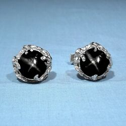 Solid 14k White Gold And Natural Black Star Diopside Wing Back Cufflinks