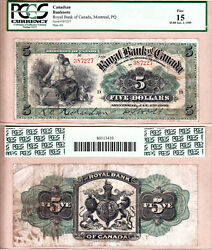 Early Date 1909 5 The Royal Bank Of Canada 630-10-04-02 Black 5s Pcgs F15