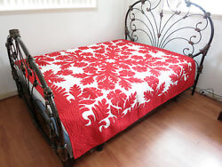 Hawaiian Quilt 100 Hand Quilted/hand Appliqued King Size Bedspread 105x110