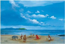 Disney Fine Art Limited Edition Canvas Pooh And Friends At The Seaside-ellenshaw