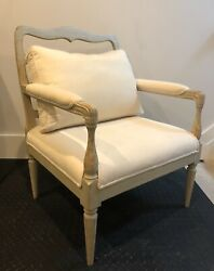 Chelsea Textiles Gustavian Provence Arm Chair Andnbspin Seafoam W/ Muslin Upholstery