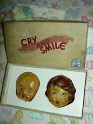 Very Rare Set Of 2 Antique Labeled Cry And Smile Castile Soap Baby Dolls Orig. Box