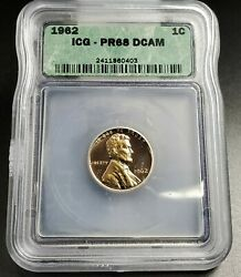 1962 P Lincoln Memorial Cent Penny Coin Vintage Icg Pr68 Dcam Deep Cameo Proof