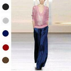 Womens 100 Mulberry Silk Palazzo Pants Wide Leg Trousers Loose Bottoms New 0528