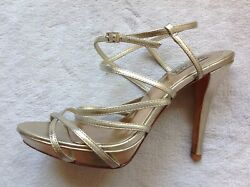 BADGLEY MISCHKA GORGEOUS GOLD LEATHER OPEN TOE STRAPPY HEELS SIZE 9