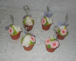 6 Easter Bunny Flower Pot Table Place Card Holders Photo Clips Nwt Free Shipping