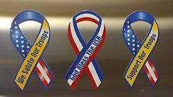 Lot 3 Support Our Troops Ribbon God Bless The Usa Magnet Car Auto Kitchen