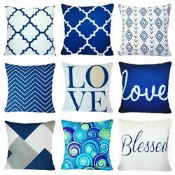 Cushion COVER Navy Blue White Home Decor Decorative Bed Throw Pillow Case 18x18quot;